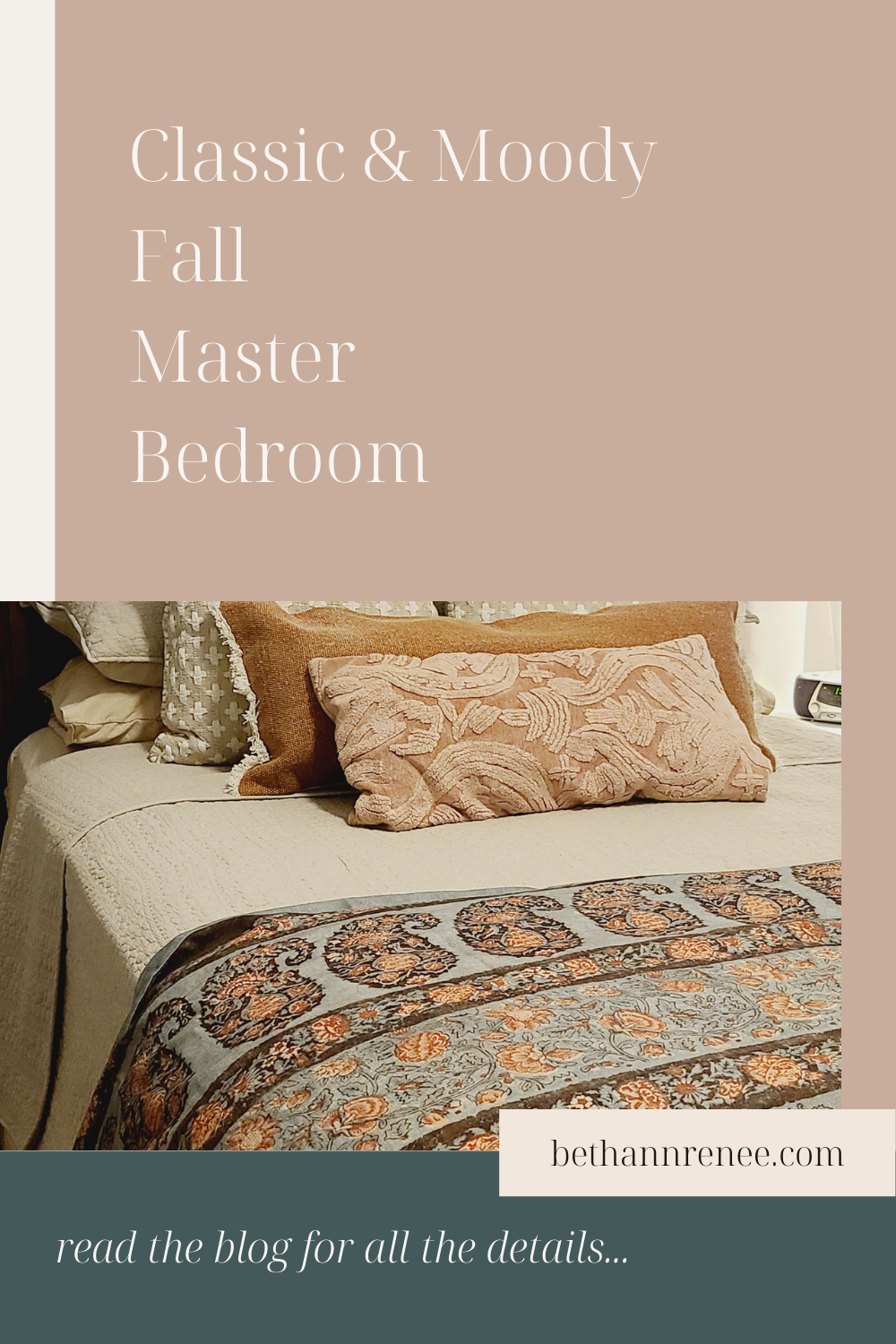 classic and moody fall master bedroom